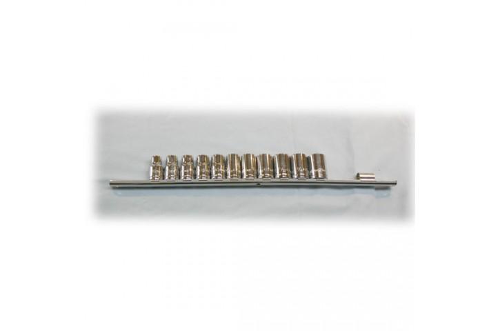 SERIE DE DOUILLES SUR RACK CARRE 3/8 DE 10 mm (3/8'') A 18 mm (23/32'')